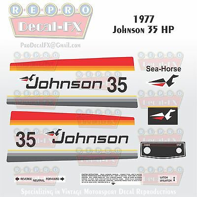 1959 Johnson 35HP Electric Start RDS-21 SeaHorse Outboard Repro 7 Pc Vinyl Decal