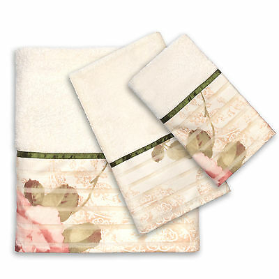 Popular Bath Madeline Beige Collection 3 Piece Towel Set Bath