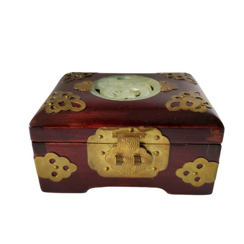 Vintage Masonic Shriner Wood & Carved Jade Jewelry Box