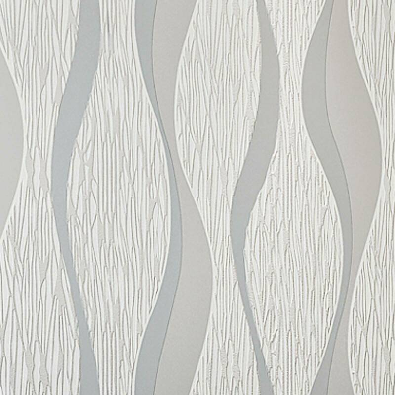 Nouvelle Moderne 3D Crescent Vague Rayures en Relief Non-Tissé Papier Peint 10*0.53m Argent