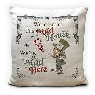 ALICE IN WONDERLAND Cushion Cover Mad Hatter Mad House Vintage Gift 16 inches
