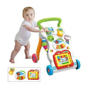 2in1 Baby Walker First Steps Activity Bouncer Musical Toys Car Along Toddler UK 2