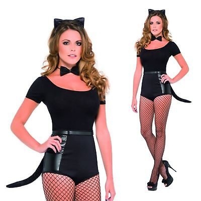 Female Bat Costume (Black Female Slick Cat Set Costume Pack Halloween Bat Guy Tail Ears Bow Tie)