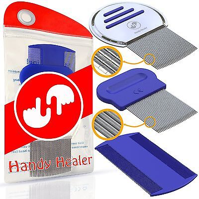 Head Lice Comb Set for Fast Nit and Lice Treatment. Best Results on all (Best Headlice Treatments)