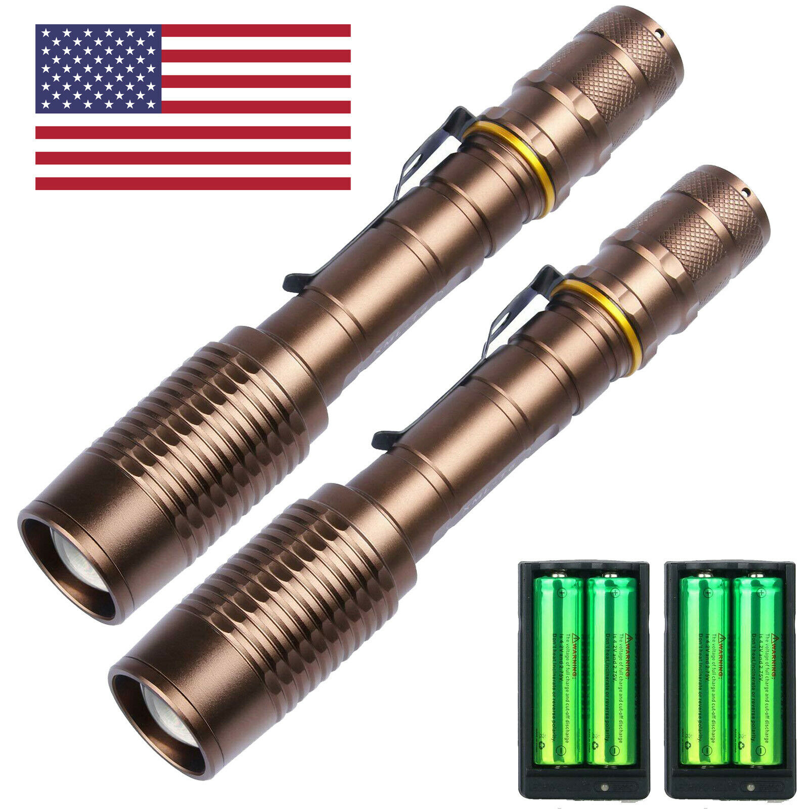 2 Pack Rechargeable Led Flashlight T6 Tactical Torch + 18650 Battery + Charger ! Camping & Hiking