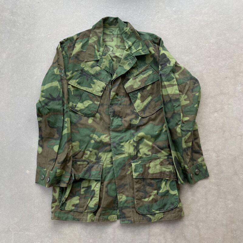 Vintage Usgi 60S 70S Erdl Camo Slant Pocket Vietnam Jacket Shirt Ripstop Sz L #1