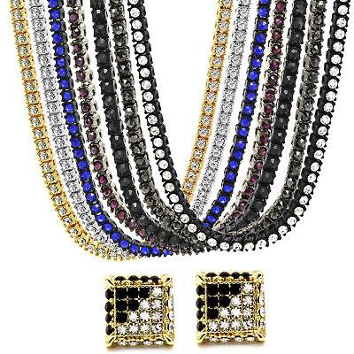 14k Gold Silver Black Hema Tennis Hip Hop CHAIN Plus Earring Bundle (14k Black Jewelry Set)