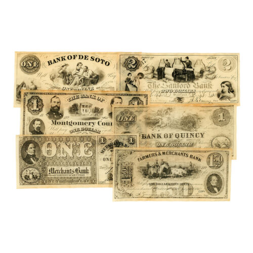 Set of 6 diff. reproduction currency US Northern States Civil War