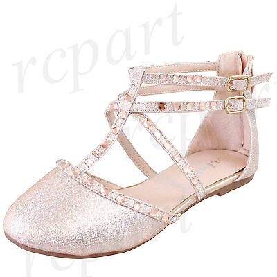 - New girl's kids back zipper gladiator shoes champagne formal holiday