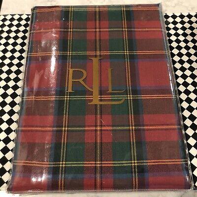 "Ralph Lauren Tartan Plaid Christmas Tablecloth 60"" X 84"" Landry Red 100% Cotton"