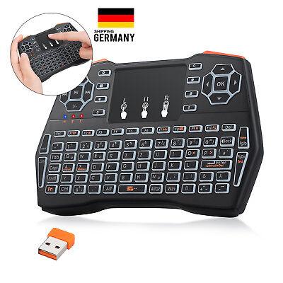 Mini Tastatur Wireless Touchpad Maus mit Beleuchtet QWERTZ für TV HTPC Box PS3 ()