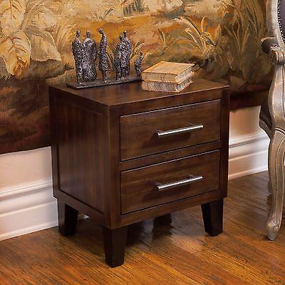 منضدة جانب السرير جديد Brown Mahogany Solid Wood Two Drawer Nightstand