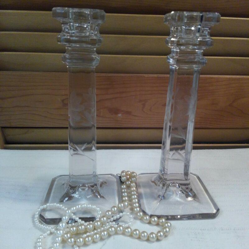 Vintage Elegant Crystal Etched Flower Glass Candlesticks Candle Sticks Holders