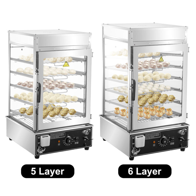 VEVOR Commercial Bun Steamer Restaurant Bun Warmer 5/6 Layers Food Steamer