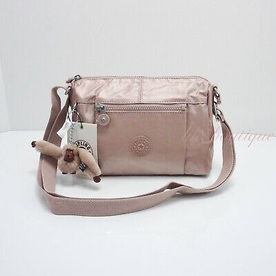 NWT Kipling HB6556 Wes Crossbody Shoulder Bag Purse Polyamide Rose Gold Metallic