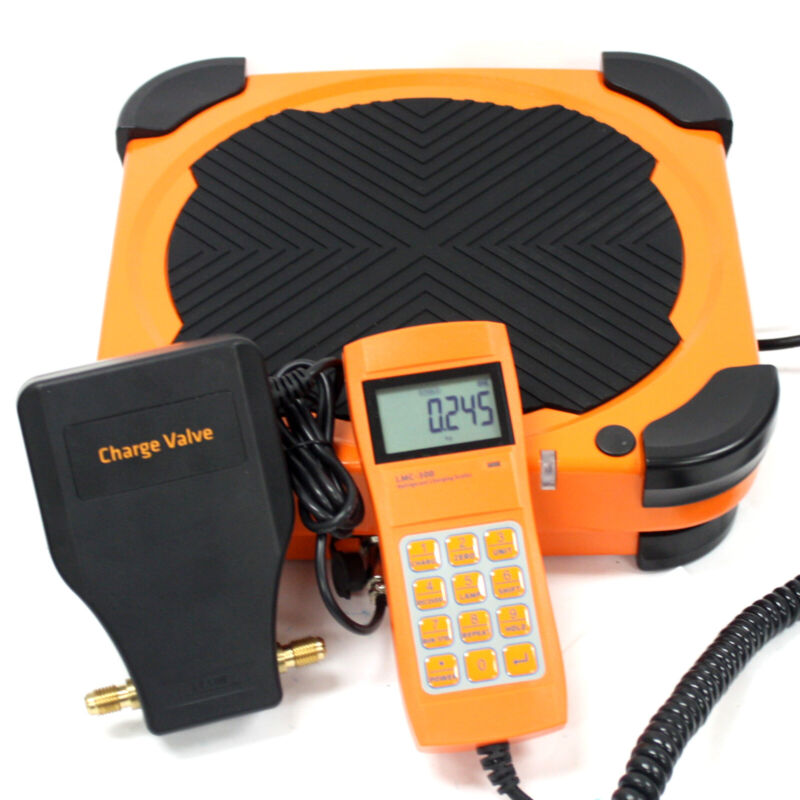Electronic Refrigerant Scale 220lbs HVAC Charging Digital Weight W/ Charge Valve