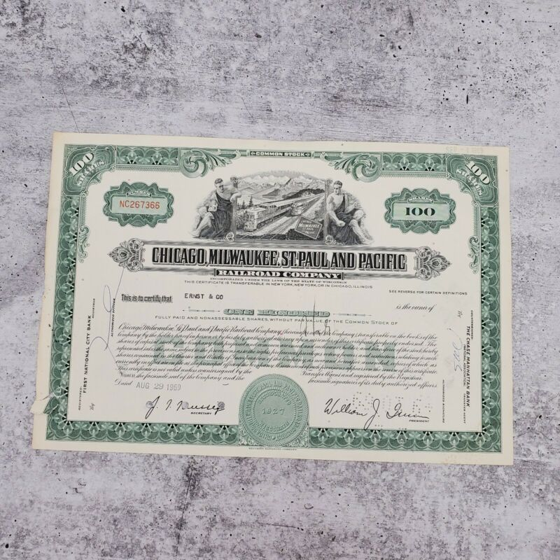1969 Milwaukee Chicago Pacific 100 Share Railroad Stock Bond Certificate Ernst