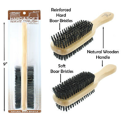 Double Hard & Soft Boar Bristle Wave Hair Brush Natural Wooden Handle # 7713 -