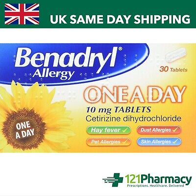 Benadryl Allergy One A Day - 7 or 30 Tablets | Relief For Hayfever, Skin, Dust,