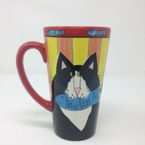 Catzilla Candace Reiter Multicolored Fancy Cat Coffee Mug Tall