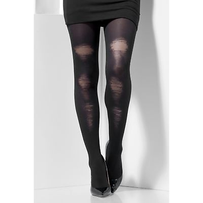 Black Distressed Look Halloween Tights Womens Ladies Fancy Dress Accessory
