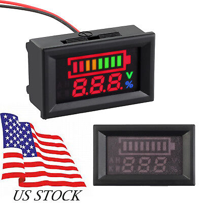 12v 24v Acid Lead Battery Indicator Capacity Digital Led Tester Voltmeter Meter