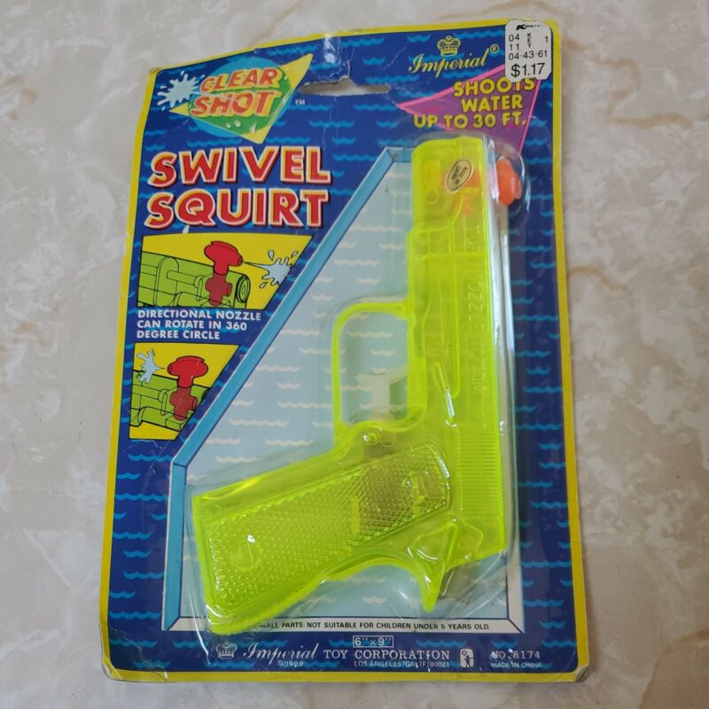 Vintage 1988 Imperial Toy Clear Shot Swivel Squirt Water Gun Plastic Clear Neon
