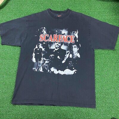 Vintage Scarface Moive T Shirt Size XL Black Faded Ch Gold Series