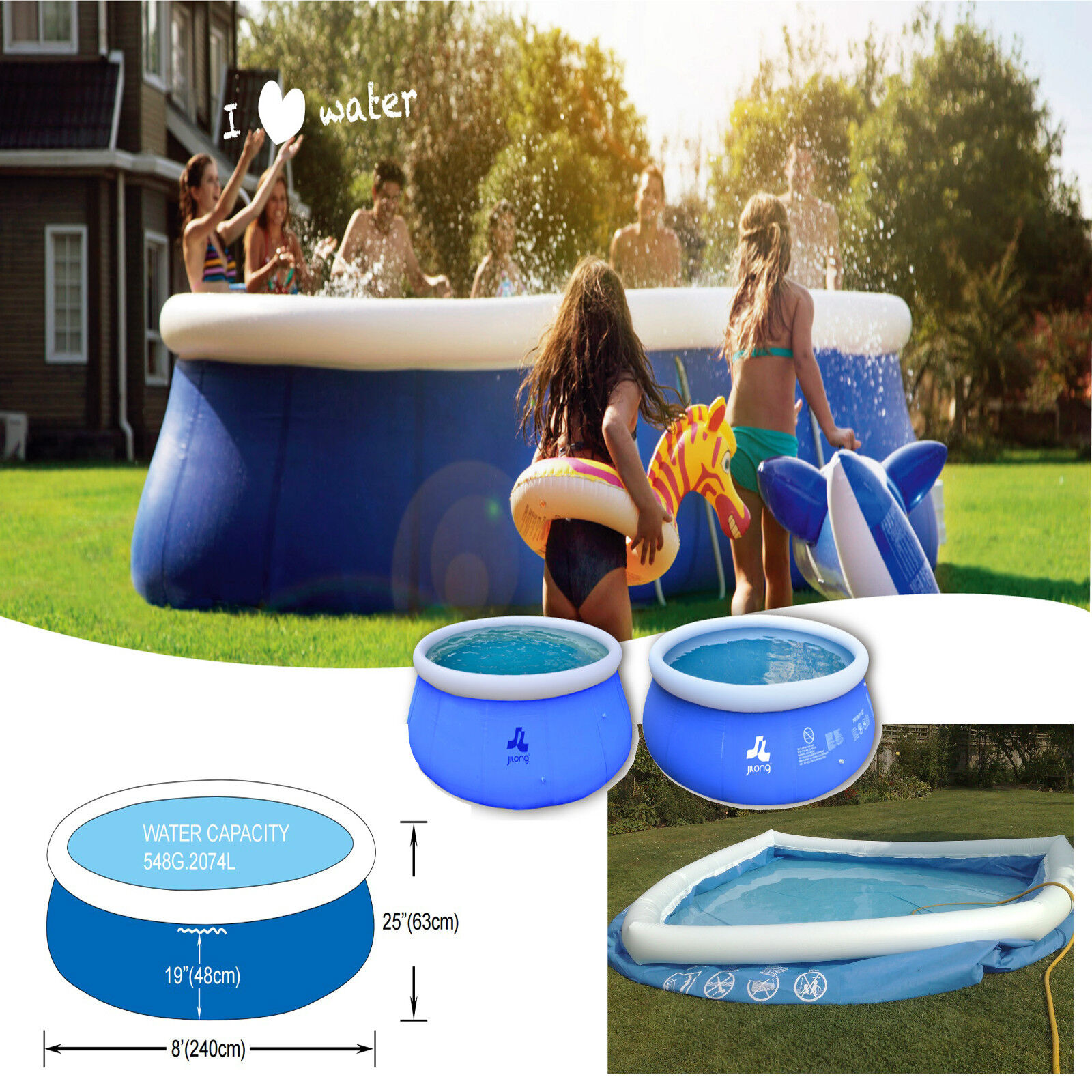 Inflatable Swimming Pool 8ft Outdoor Garden Family Fun Kids Large Round Paddling Ebay