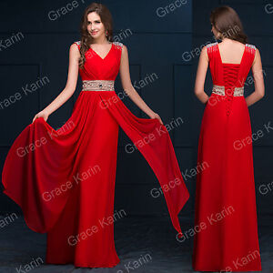 RED Sexy Long Bridesmaid Evening Dresses Masquerade Cocktail Ball Gown Plus Size