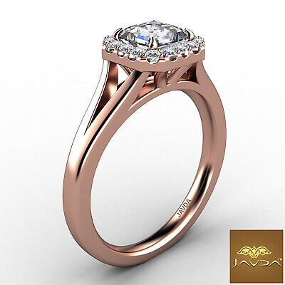 Asscher Diamond Engagement Halo Pre-Set Ring GIA F VS1 18k Yellow Gold 0.92Ct 9