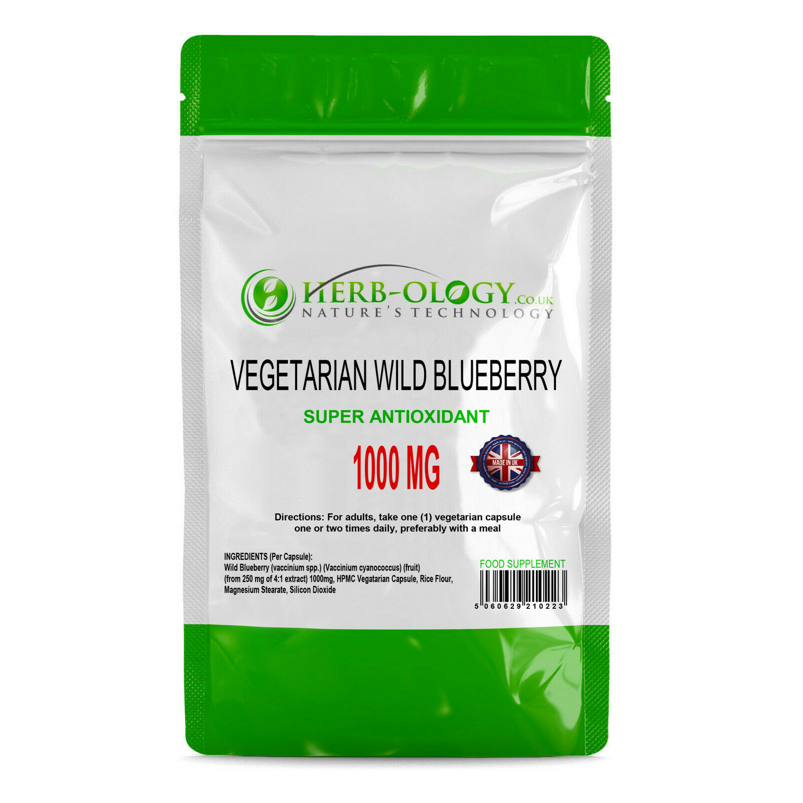 Wild Blueberry Eye Vitamins Capsules Supplement 1000mg Antioxidant Support