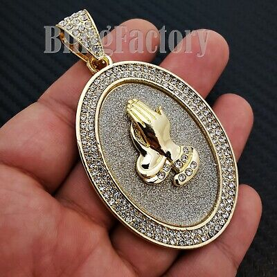 - HIP HOP ICED GOLD PLATED BLING GLITTERED LARGE PRAYING HANDS OVAL CHARM PENDANT