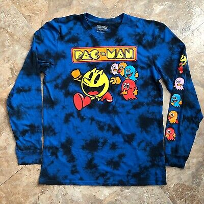 PAC MAN Namco Official Tie Dye Long Sleeve T Shirt Men's Size Medium Preowned