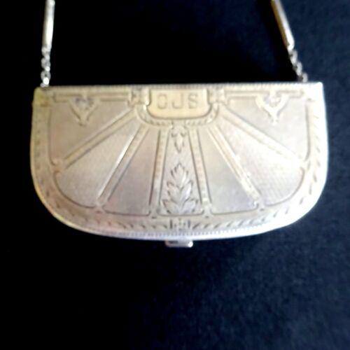 Antique Sterling Silver Elgin Compact Coin Purse Art Deco E.A.M. Vintage Bag.