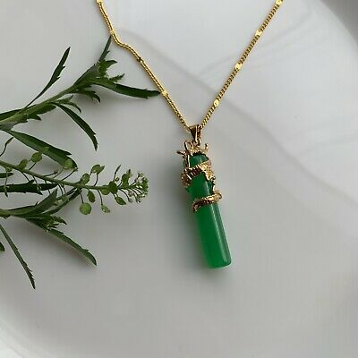 Brushed Goldtone Metal Pendant with White Jade Buddha Charm Necklace 17