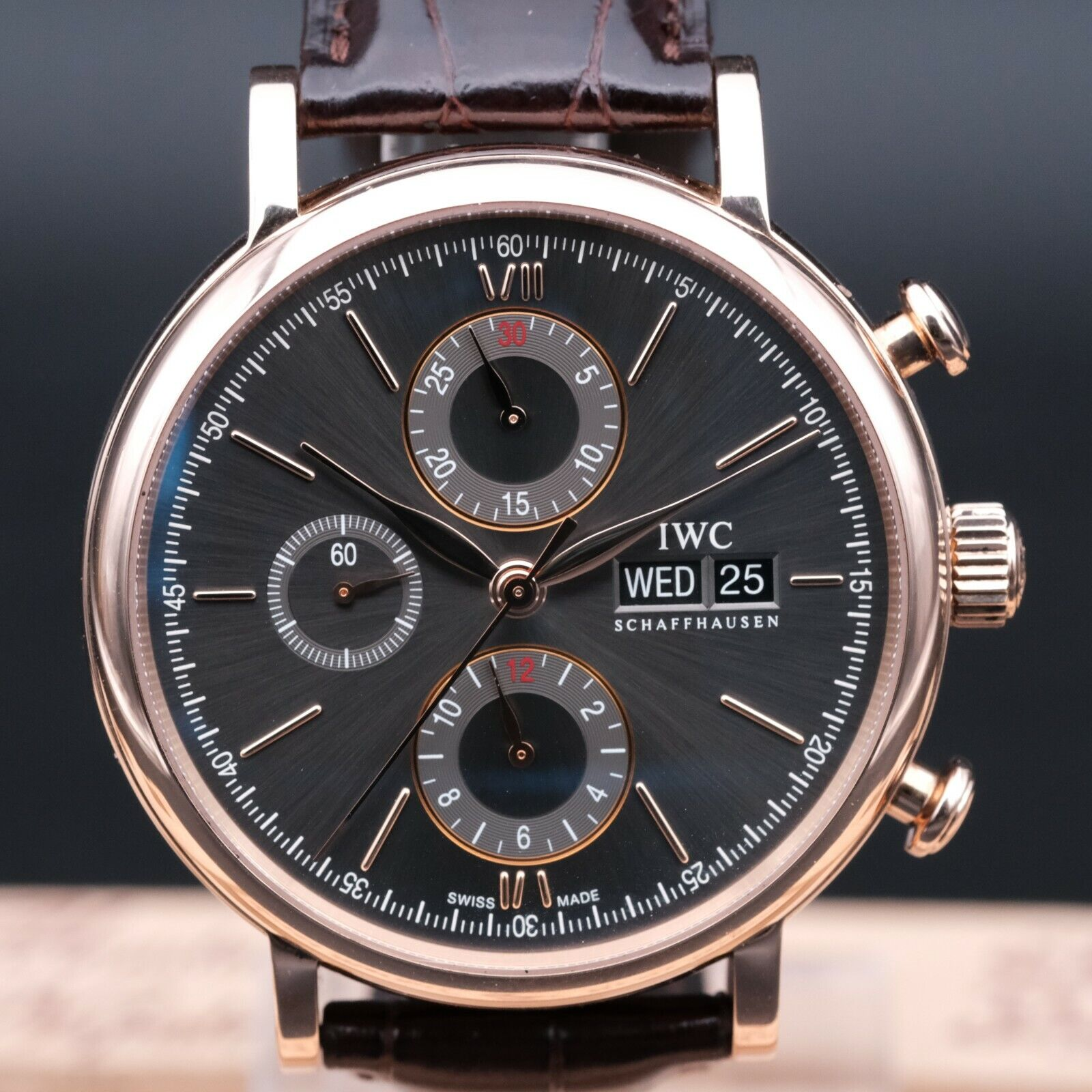 AUTHENTIC MINT IWC PORTOFINO CHRONOGRAPH 18K ROSE GOLD 42MM IW391021, IWC_798770 - watch picture 1