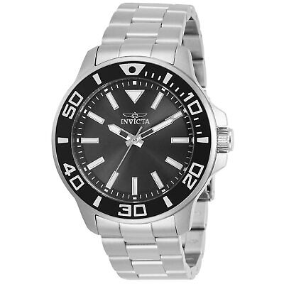 Invicta Men's Watch Pro Diver Quartz Charcoal Dial Silver Steel Bracelet 30744