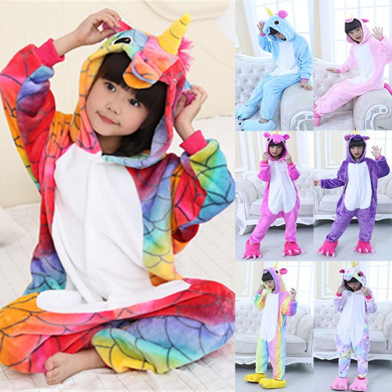 Kind Einhorn Pyjamas Kostüm Jumpsuit Tier Schlafanzug Kinder Unisex Fasching New