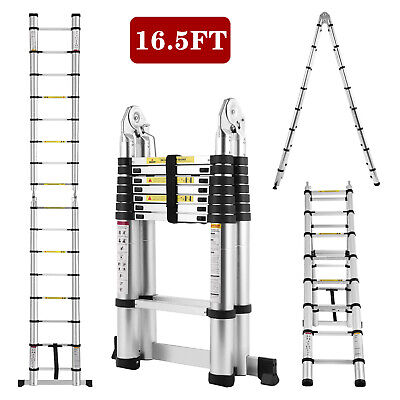Folding 16.5ft Aluminum Multi-use Extension Ladder Portable Telescopic A-frame
