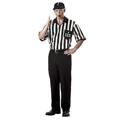 Adult Men's Referee Coach PE Teacher Cosplay Costume Striped Shirt Hat Whistle