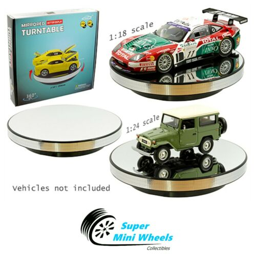 "360° Rotary Display Stand 10"" Mirrored Turntable - 1:18 / 1:24"