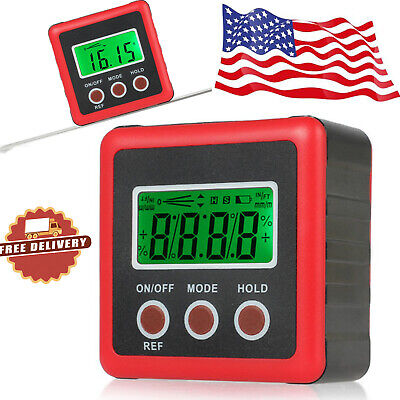 490 Digital Inclinometer Level Box Protractor Magnet Angle Finder Bevel Gauge