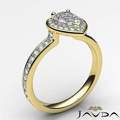Dazzling Pear Diamond Engagement Halo Pre-Set Ring GIA F VS2 Platinum 950 0.95Ct 8