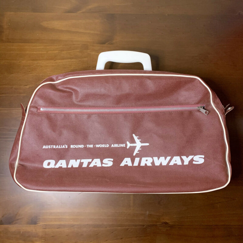 Vintage 60s 70s QANTAS AIRWAYS Travel Bag Flight Crew Carry On Airlines VTG