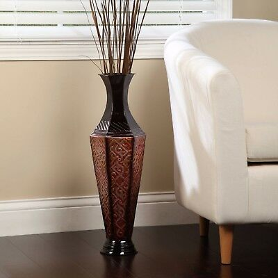 Floor Vases Decorative Tall Fake Flower Plant Red Metal Living Room Home Accents