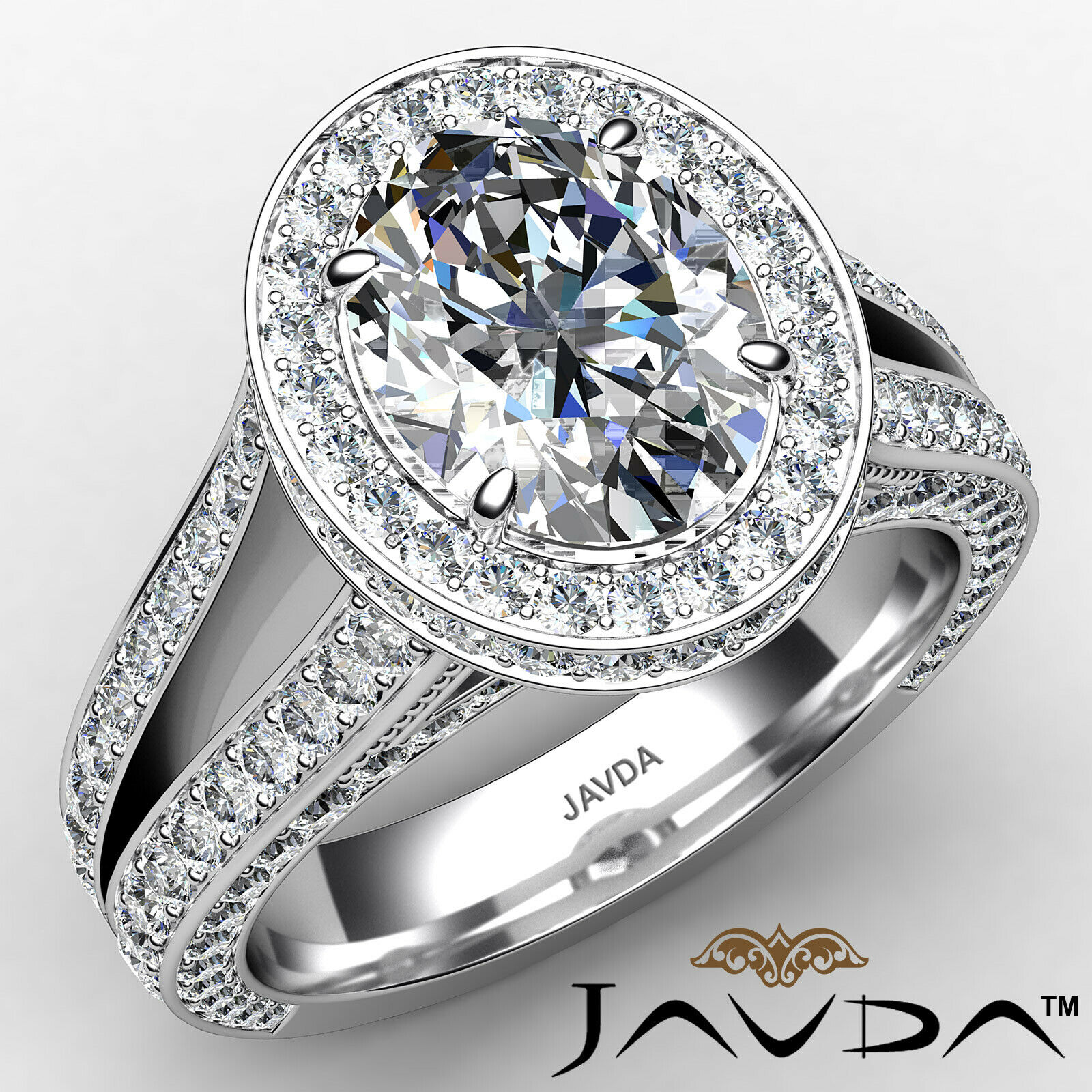 Halo Oval Diamond Engagement Ring GIA Certified F Color & SI1 clarity 2.31 ctw