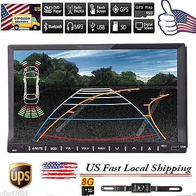 "7"" Double 2Din Car Stereo DVD Player GPS Navigation Bluetooth iPOD+Backup Camera"