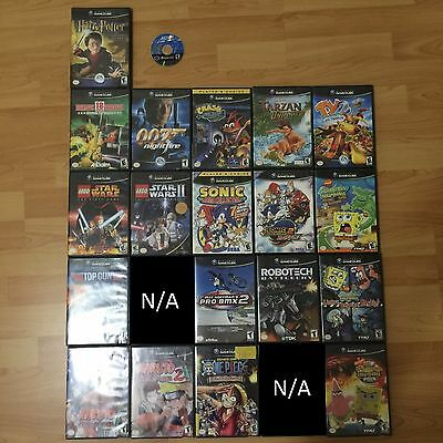 Nintendo Gamecube Games Lot Eighteen Wheeler Top Gun 007 Sonic Star Wars Etc