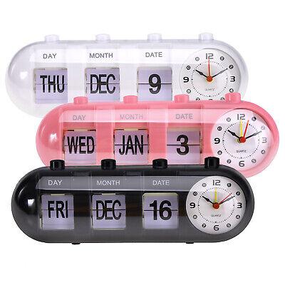 Digital Retro Quartz Alarm Clock Flip Date & Day & Time Display -